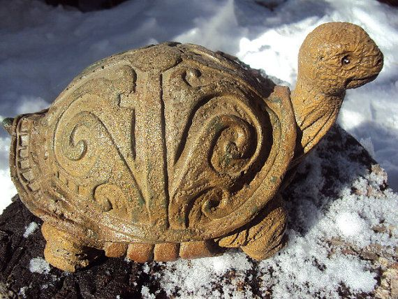 Cast Cement Stone Celtic Turtle by MountainArtCasting on
