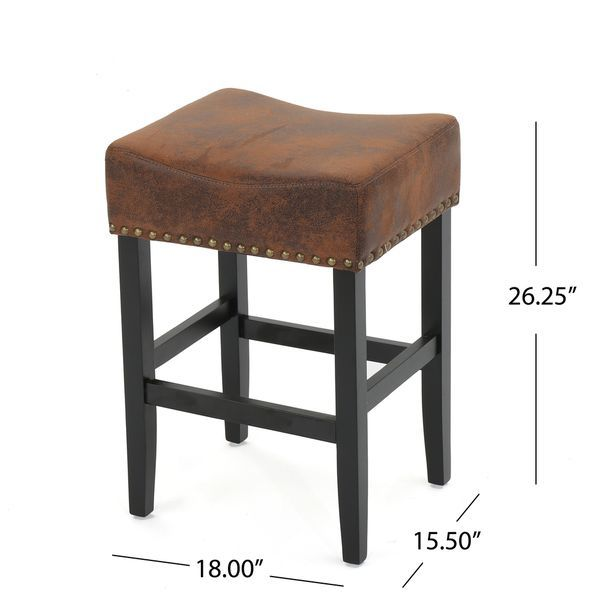 Lisette 26 Inch Studded Fabric Backless Counter Stool By Christopher