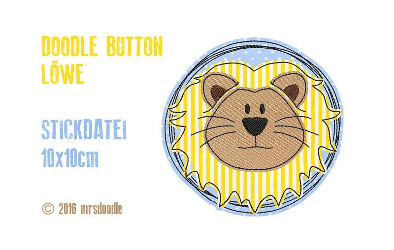 Stickmuster - ☆Stickdatei Löwe☆ Doodle-Button 10x10cm - ein ...