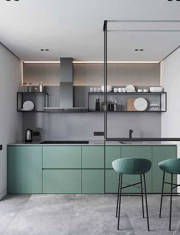 Photo of Moderne grüne und graue Küche mit Hockern und einer Theke, die an der Decke hängt #kitchensplashbacks