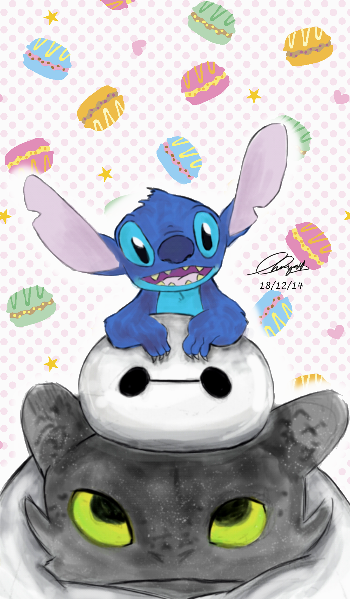 Stitch X Baymax X Toothless By MariaChrystaldeviantartcom On - Baymax imagined famous disney characters