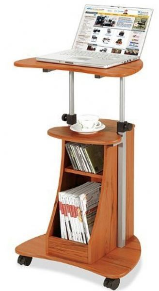 Techni Mobili RTA B002 Tango Laptop Cart, Mobile Laptop With Storage Cart    Woodgrain