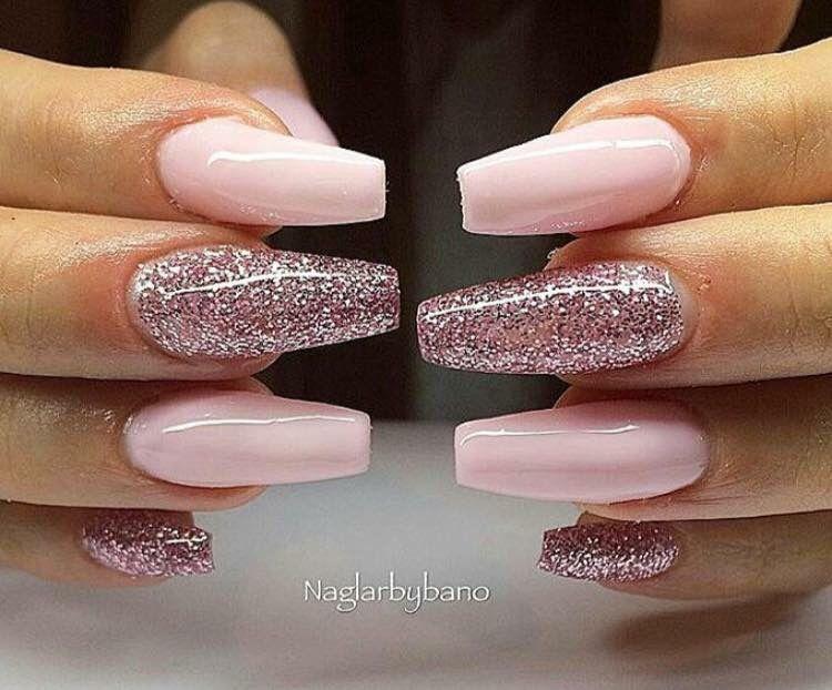 Baby Pink Glitter Cute Rozovye Nogti Nogti Manikyur