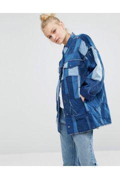 Monki Patchwork Oversized Denim Jacket Blue Kot Gomlek Kot Kiyafetler Mont