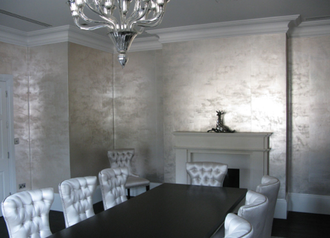 DE GOURNAY WALLPAPER Tarnished Silver Gilded Paper
