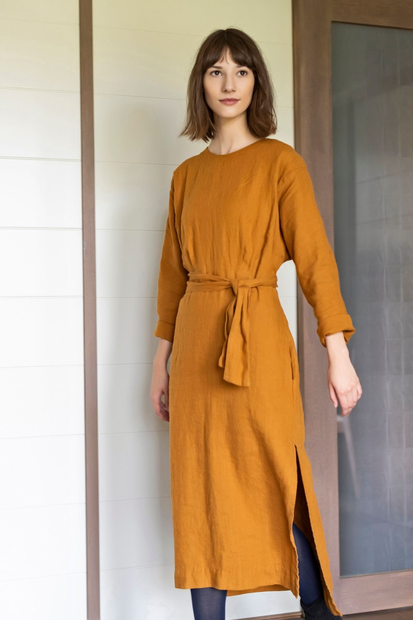 Linen Kimono Dress  Kimono Sleeve Dress With Belt