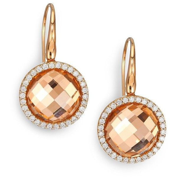 Roberto Coin 18k Cognac Quartz & Diamond Teardrop Earrings djFVCgH