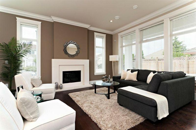 Wandgestaltung in Braun \u2013 50 Wohnzimmer Wohnideen wohnzimmer