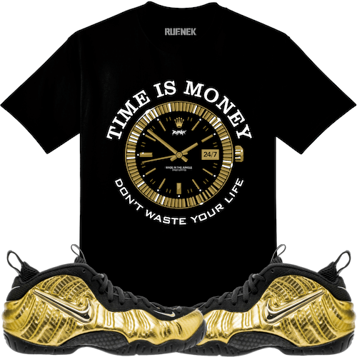 bda82697083 Metallic Gold Foamposites Sneaker Tee Shirt to match made by Original  Rufnek Clothing. Shirt is made out of pre-shrunk cotton and fits true to  size.