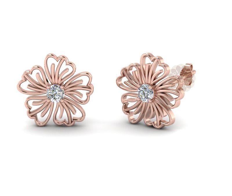 Vogue Crafts Designs Pvt Ltd manufactures Rose Gold Flower Stud
