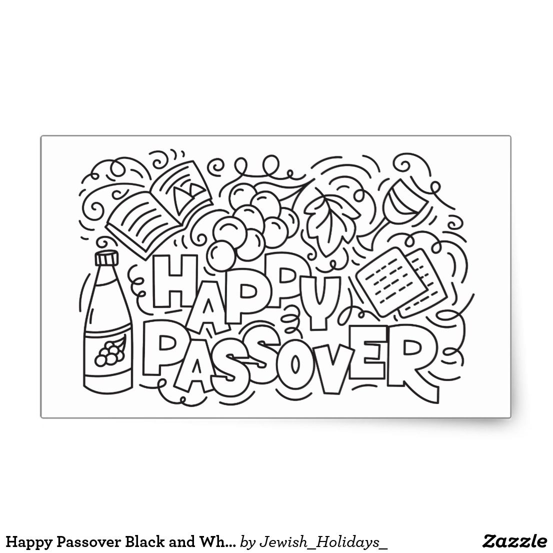 Happy Passover Black And White Rectangular Sticker Zazzle Com Happy Pesach Black And White Posters Pesach [ 1106 x 1106 Pixel ]