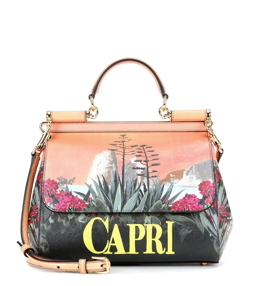 1cde4f06892c Isle Of Capri. Leather Totes. Dolce  amp  Gabbana - Miss Sicily Medium printed  leather shoulder bag - Dolce  amp