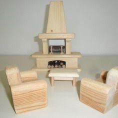 Salon bois complet avec cheminée table et fauteuils.