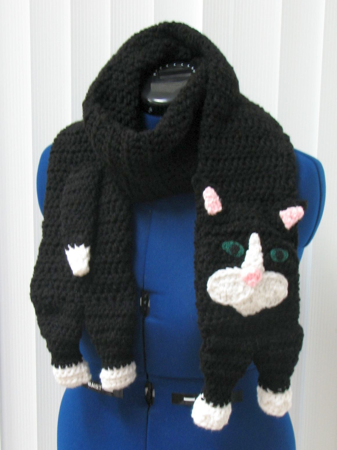 Black Cat Scarf Crochet Pattern With Tutorials Digital Download Half Double Diagram And On Pinterest Easy Animal White