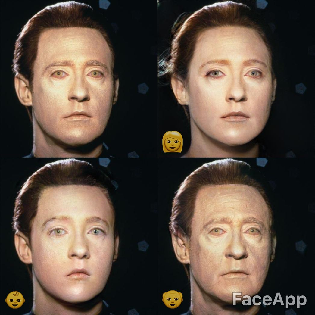 Star Trek Data as female, old, and young using face app
