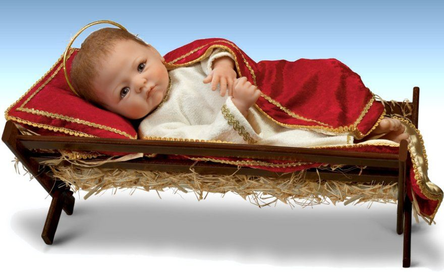 Jesus The Savior Is Born Baby Jesus With Wooden Manger