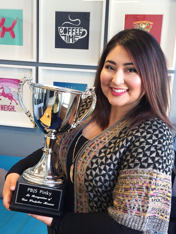 Congrats to our #multitasking, Sr. #Art-Directing, always-smiling #PBJSPinky #employeeofthemonth winner, @lulualma!