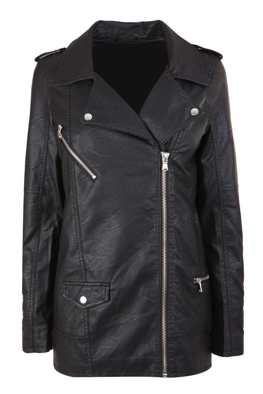 Longer Length Jacket Jackets Leather Outerwear Pu Biker Jacket [ 1500 x 1002 Pixel ]