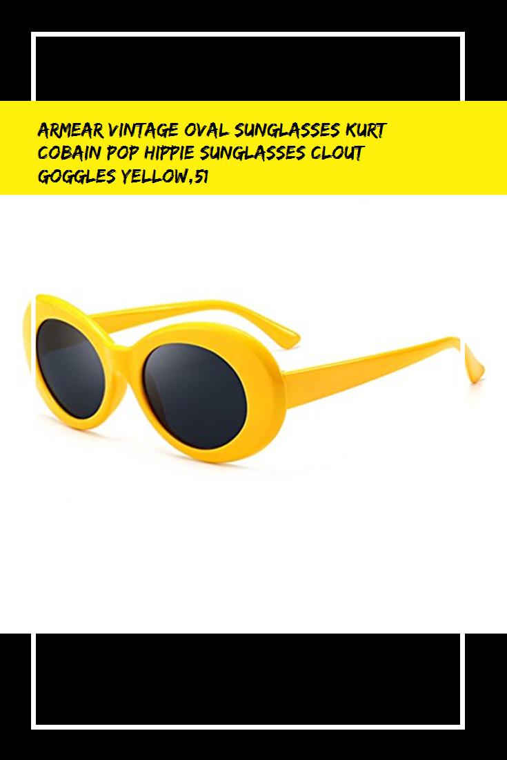 Armear Vintage Oval Sunglasses Kurt Cobain Pop Hippie Sunglasses Clout Goggles Yellow 51 Hippie Sunglasses Glasses Fashion Oval Sunglasses
