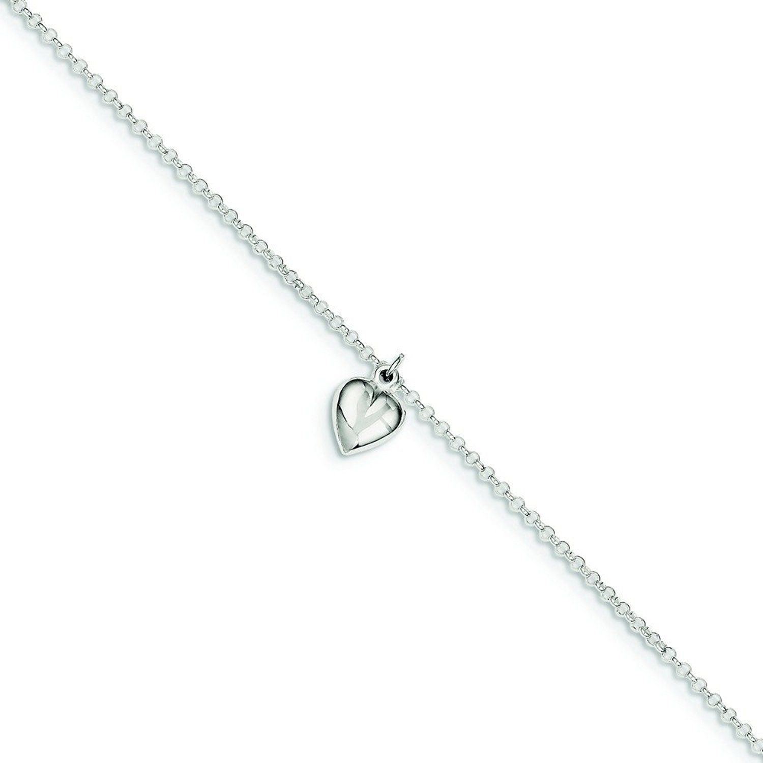925 Sterling Silver Polished Love Heart Anklet With 1inch Ext 9 Inch Jewelry Gifts for Women