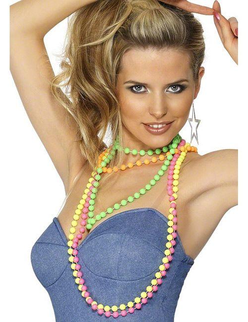 80er jahre neon perlenketten 4 stück bunt | 80iger, frisur und party