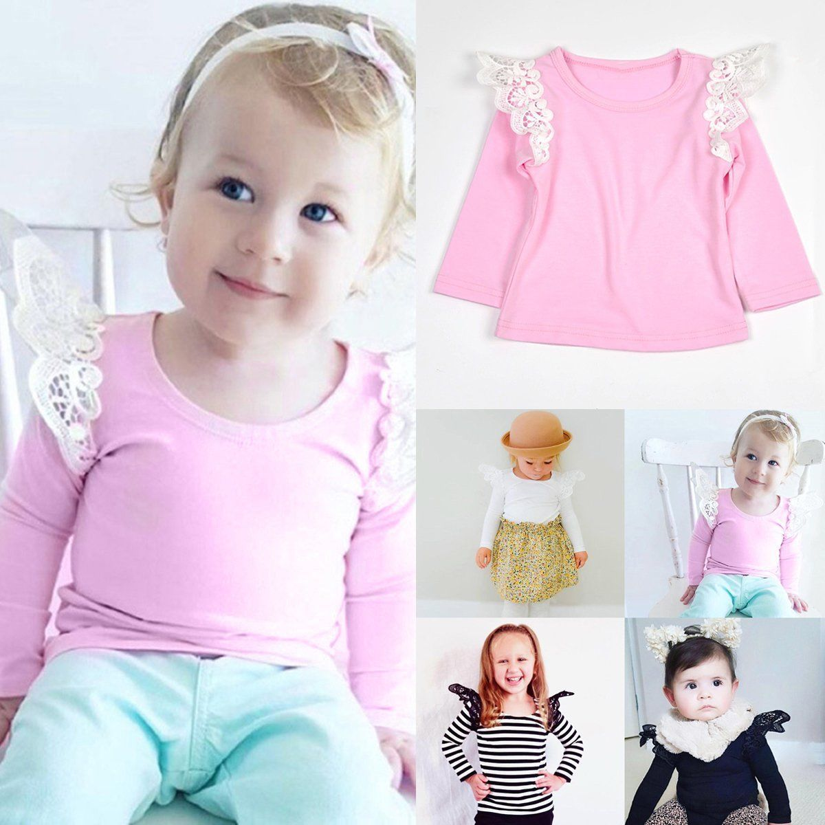 07315012b Newborn Toddler Infant Baby Girls Clothes Long Sleeve Lace Floral T-Shirt  Tops