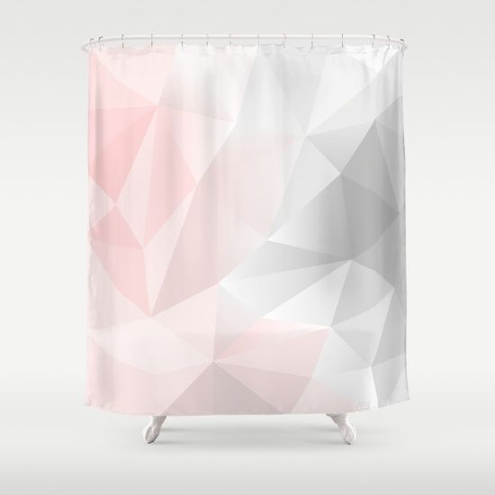 Geometric Pink And Grey Shower Curtain Modern Home Decor Pink