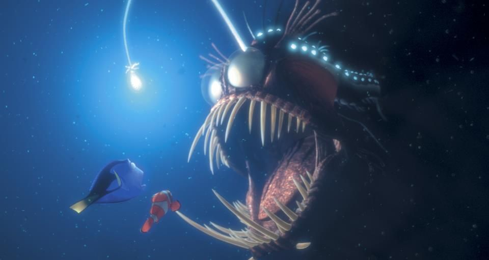 The angler fish from finding nemo quite a terrifying for Angler fish light