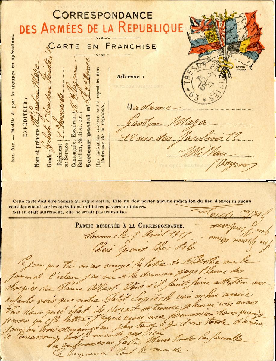 Correspondance des Armées - Gaston Maza pour son épouse à Millau le 2 août 1915 (from http://mercipourlacarte.com/picture?/1079/)