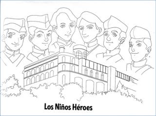 Dibujos De Los Niños Héroes Para Colorear México Bandera Niños