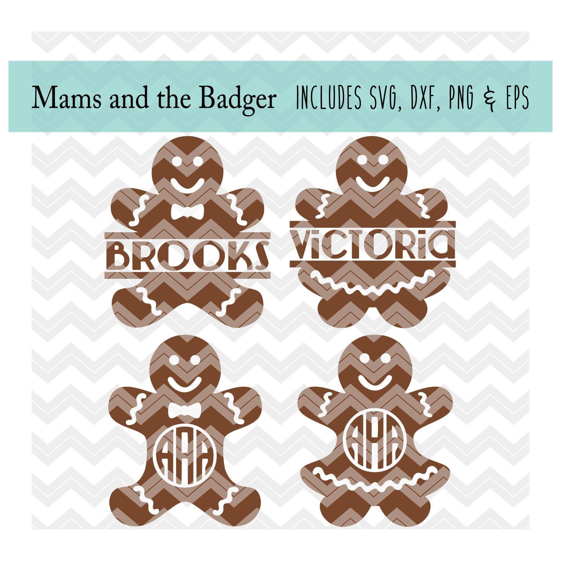 Download Gingerbread Man svg, Christmas Cookie svg, Split Monogram ...