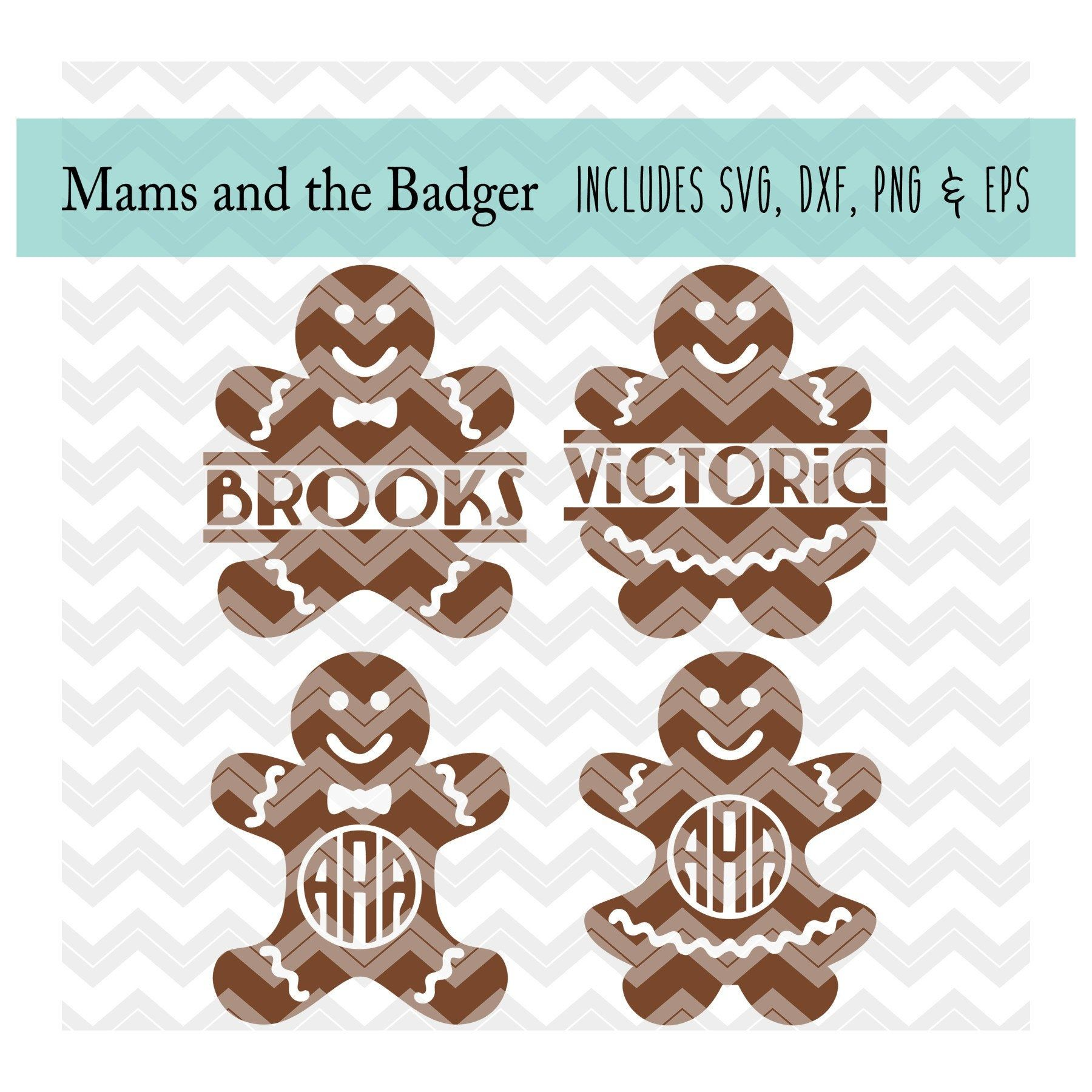 Gingerbread Man svg, Christmas Cookie svg, Split Monogram