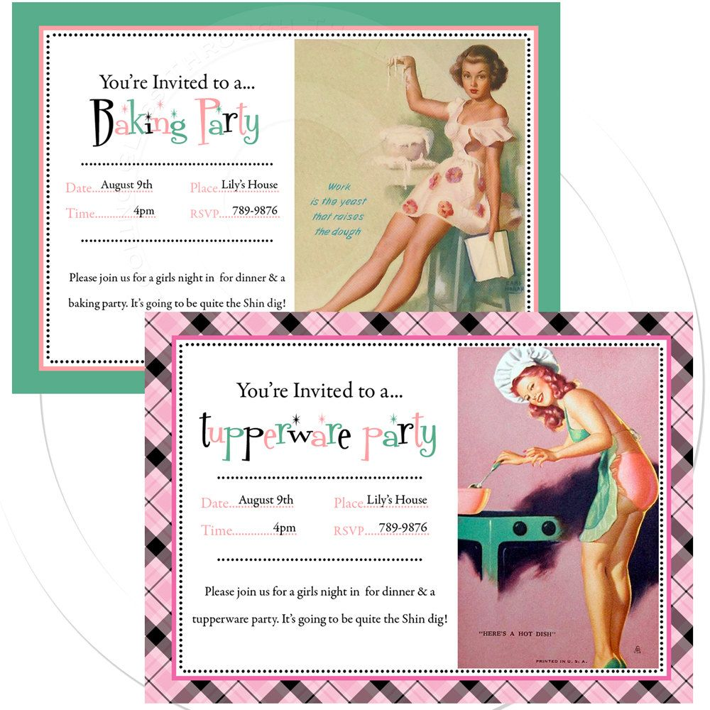 Printable personalize pinup invitation tupperware party baking or