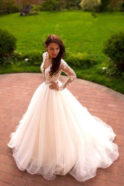 Romantic wedding dress,A-Line Wedding Dress,V-Neck wedding dress,Long-Sleeves Wedding dress W20 from Babystyle