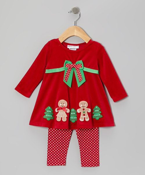 Take A Look At This Red Gingerbread Velour Dress