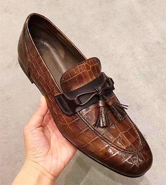 Handcrafted Mens Alligator Tassel Loafer SlipOn Shoes is part of Alligator dress shoes, Dress shoes men, Mens fashion shoes, Shoes mens, Fashion shoes, Tassel loafers - Handcrafted Mens Alligator Tassel Loafer SlipOn Shoes