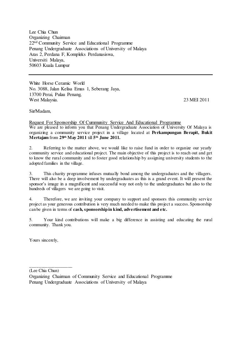 Sponsorship Letter For Project Sample Request  Letter Of Sponsorship Template