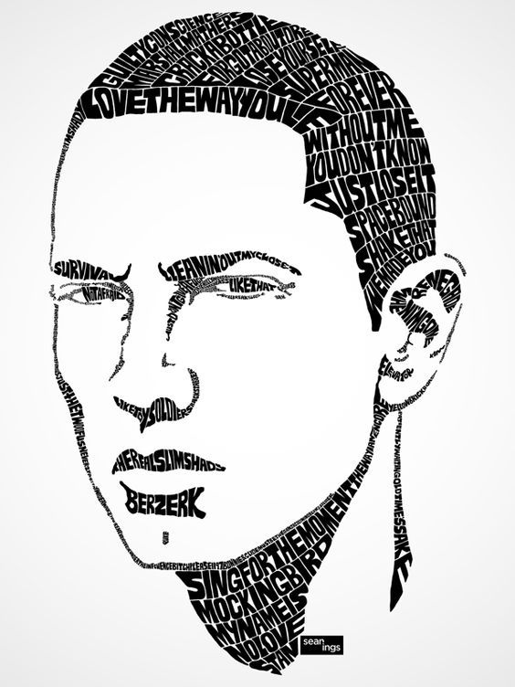 Eminem Portrait Black White Drawing Google Da Ara Typographic Portrait Eminem Drawing Rapper Art