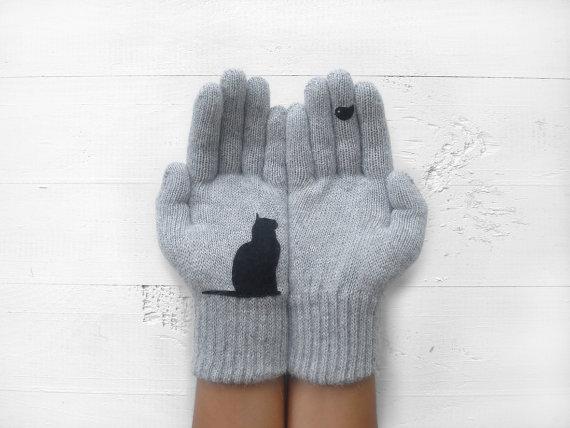 Cat Bird Gloves Cats Birds Pet Lovers Gray Gloves by talkingloves