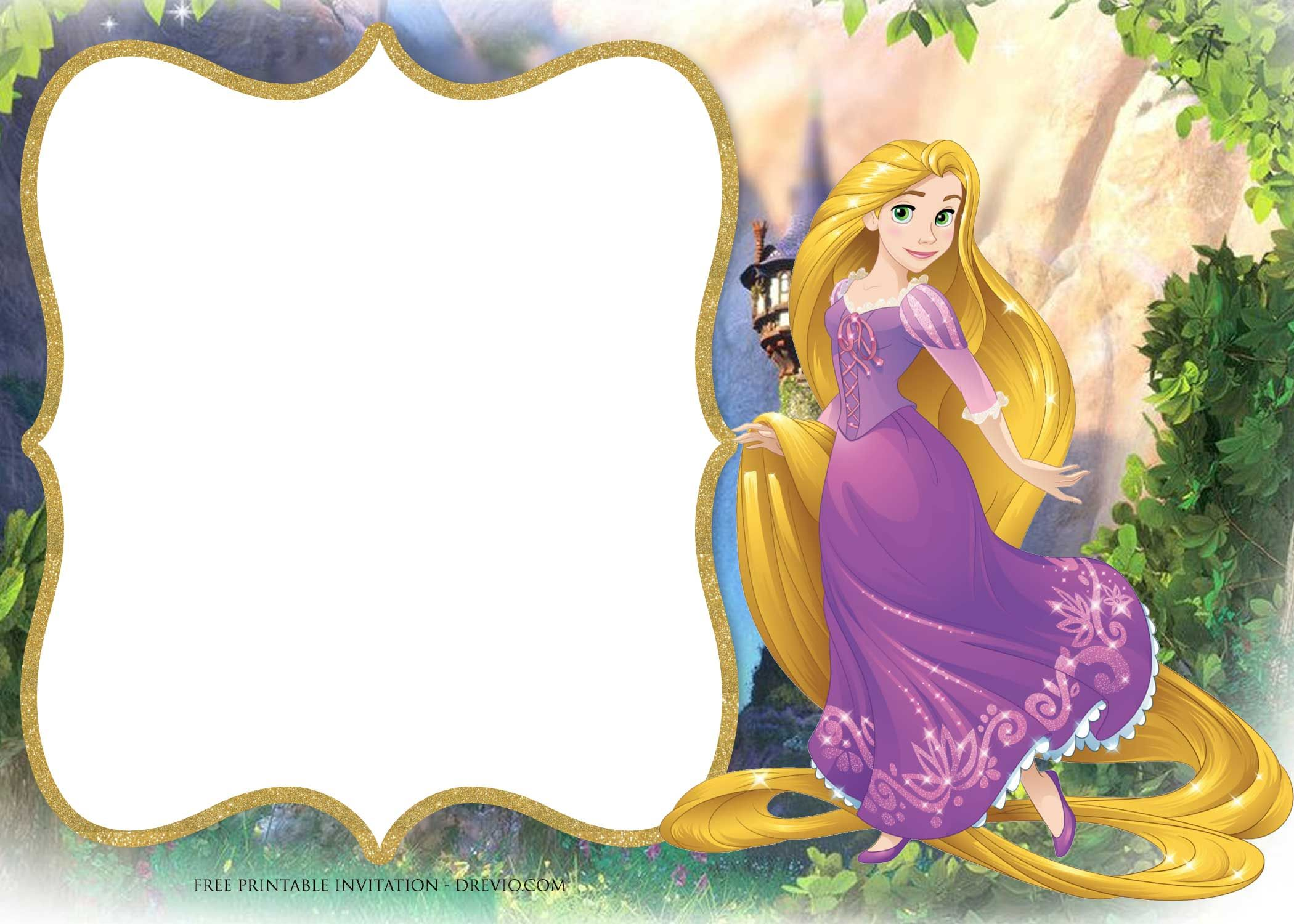 Free Printable Princess Rapunzel Invitation Templates
