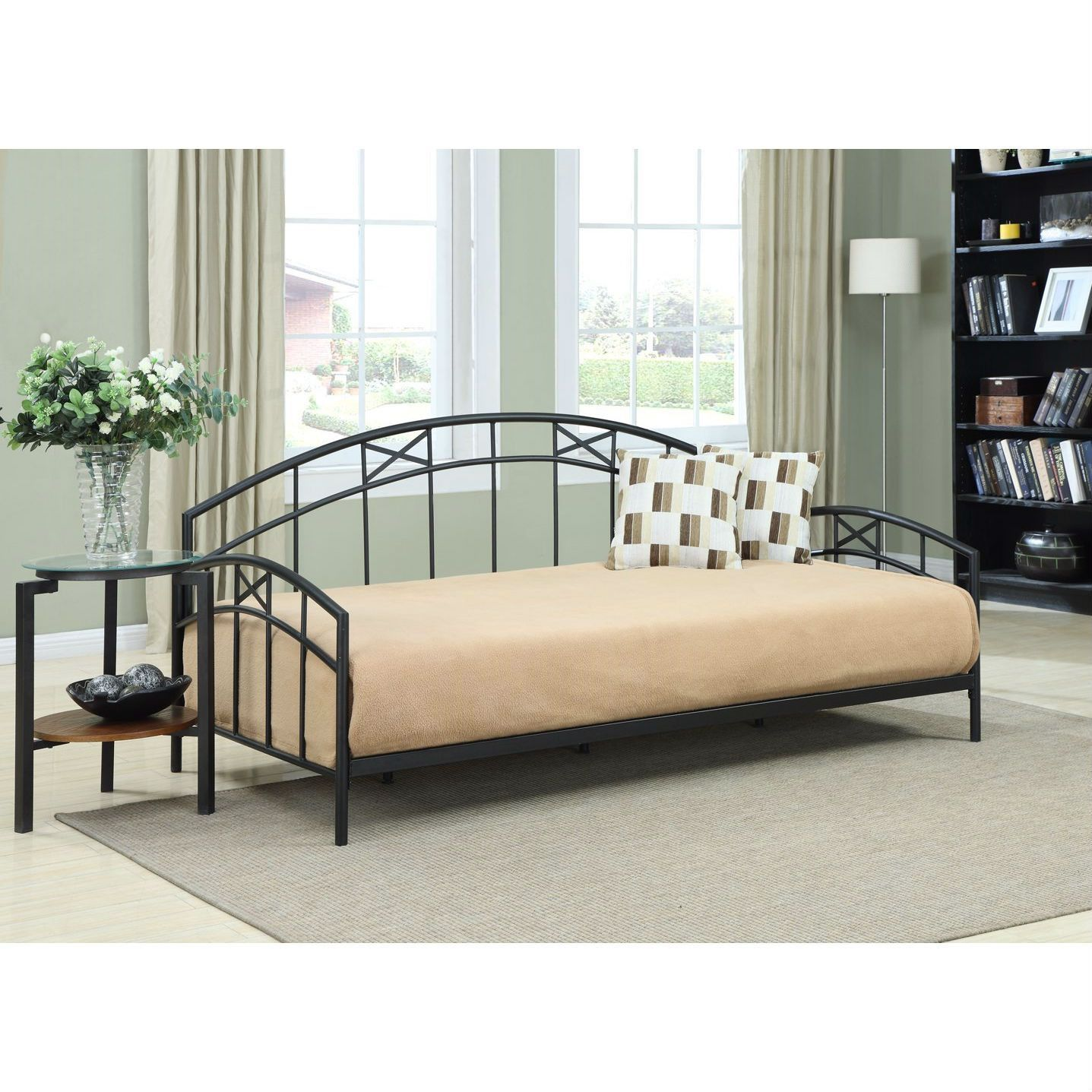 Twin size Black Metal Daybed Frame with Decorative Rails