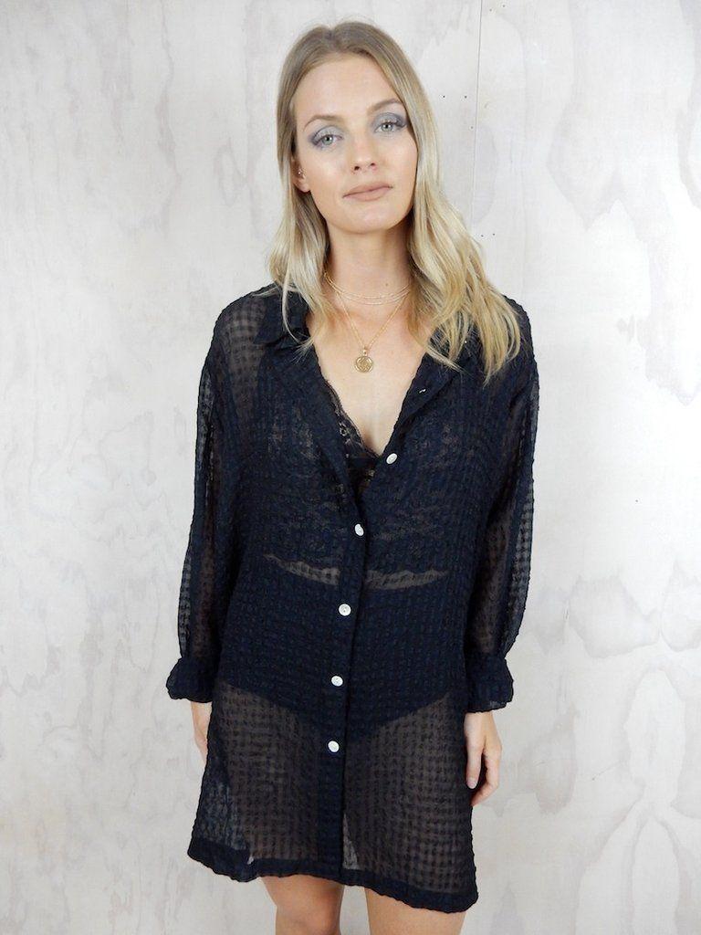 PRE-LOVED black shirt dress. Brand / Regatta. Oversized sheer ...