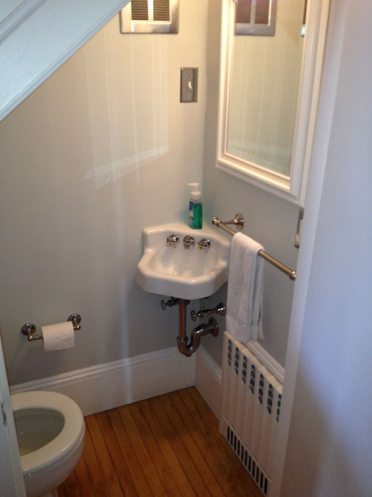Cute Half Bath Tucked Under Stairs On Bathroom Under Stairs Best