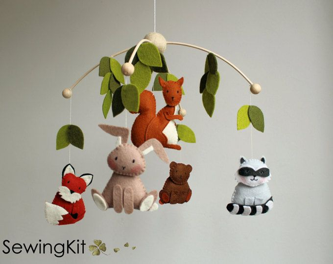 Baby Mobile Woodland Mobile Forest Animal Mobile Wool