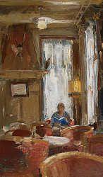 Zondagmiddag | schilderij van een interieur in olieverf van Flip ...