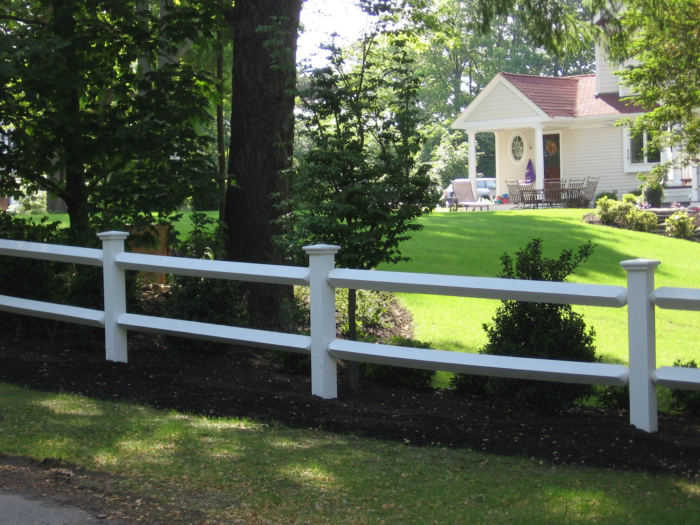 Post and rail with cap   Good neighbor fence, Front yard ...