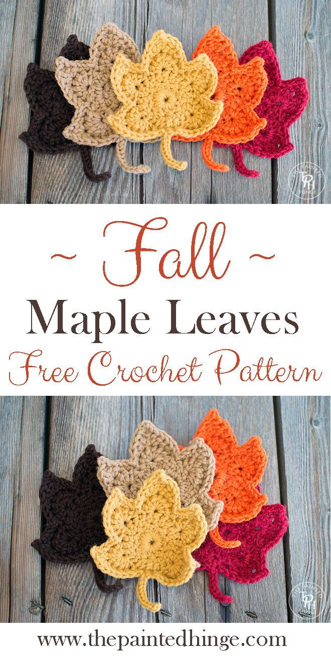 Fall Maple Leaves Free Crochet Pattern #crochetapplique