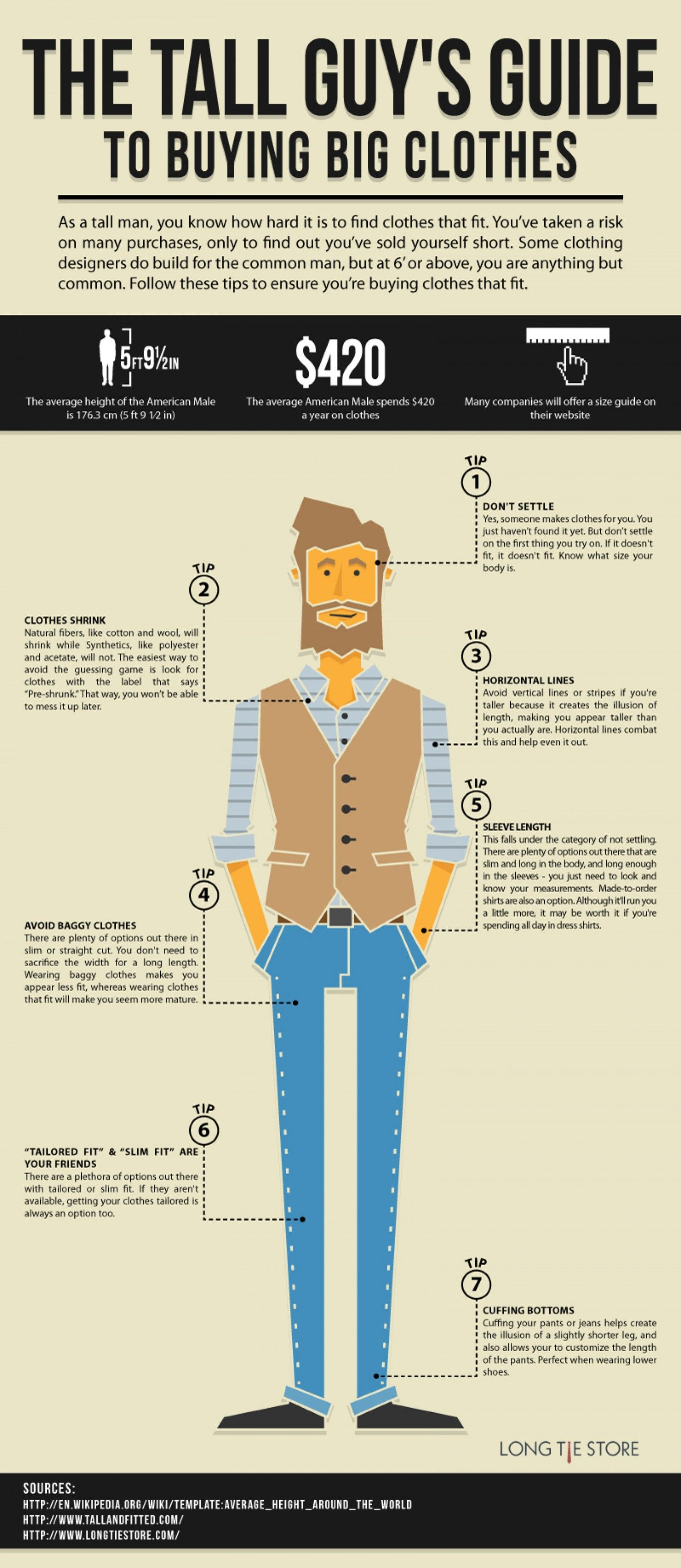 948bcca07e9138 Illustrative infographic that explain some tips for tall men who usually  have hard times looking for ideal clothes.