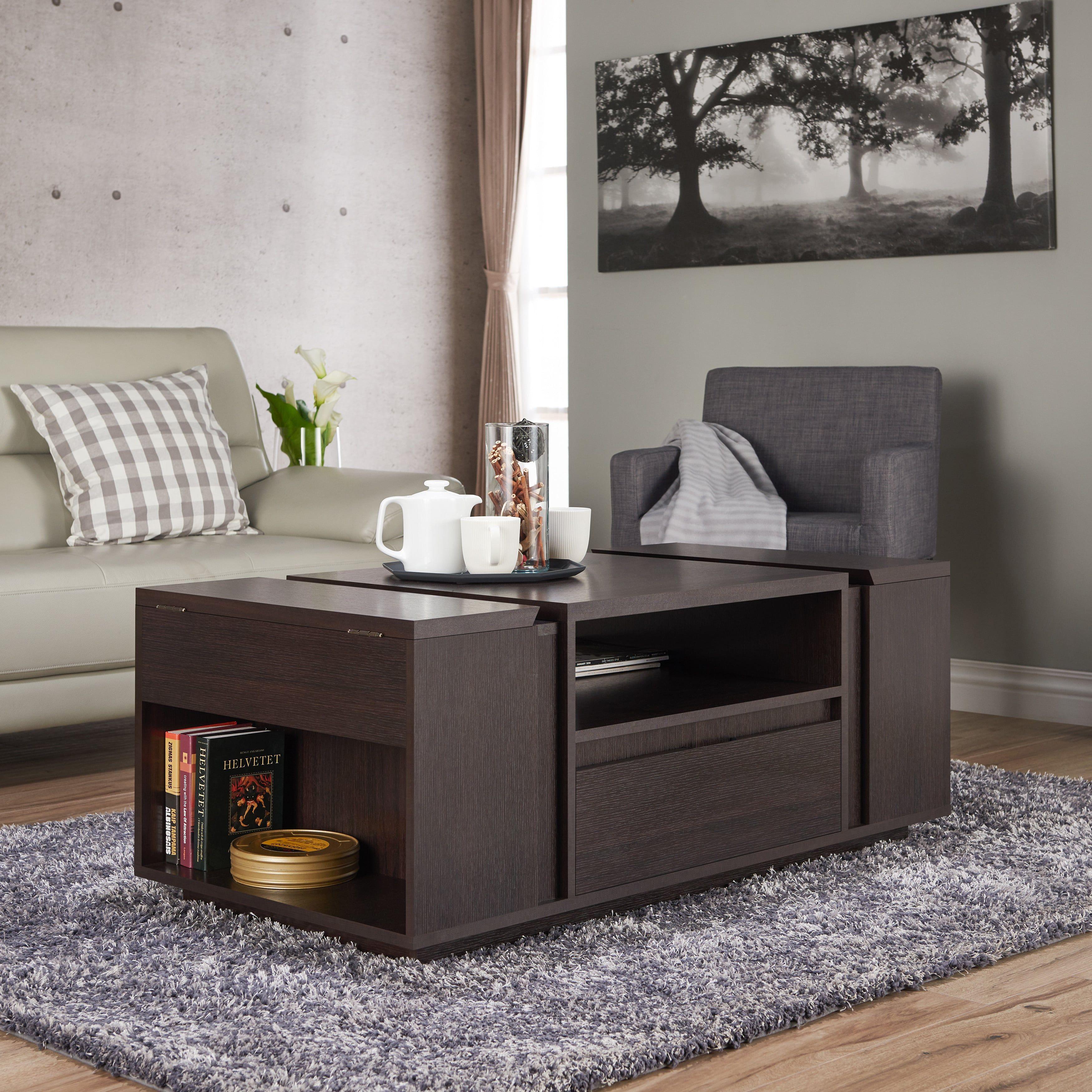 Corma Contemporary Espresso Multi Storage Coffee Table By