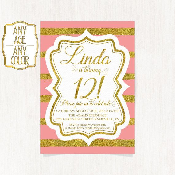 12th birthday invitation Twelfth birthday party Gold glitter words